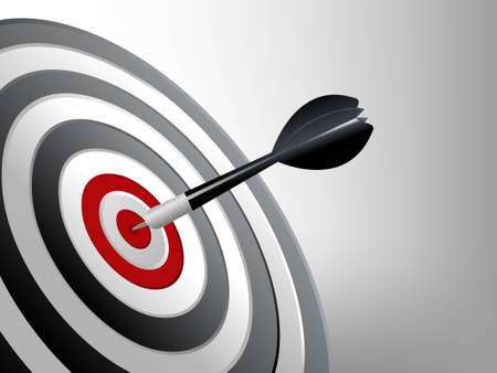 focused: Success Target, Dart on the target, Successful and focus concept.