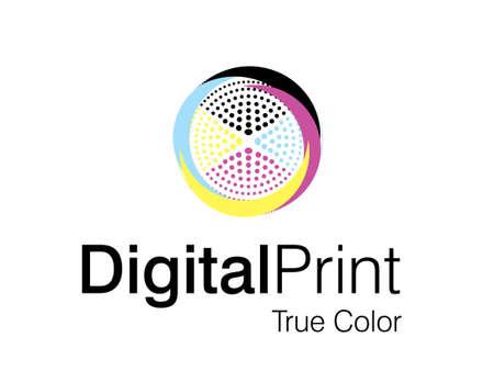 printing logo:  illustration of logo design.