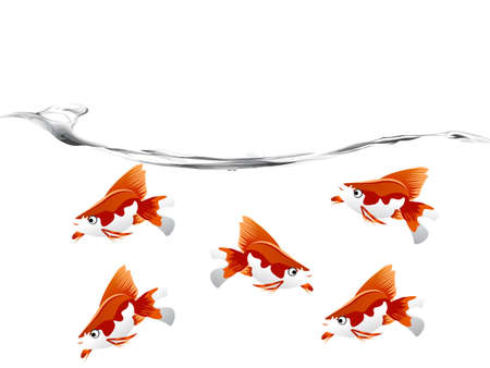 A goldfish jumping out of the water to escape to freedom.  photo