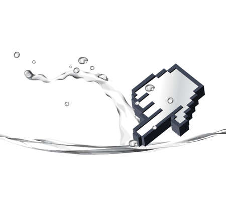Illustration of 3d pointer dropping in water .  illustration