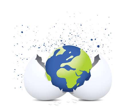 Globe e uovo shell Archivio Fotografico