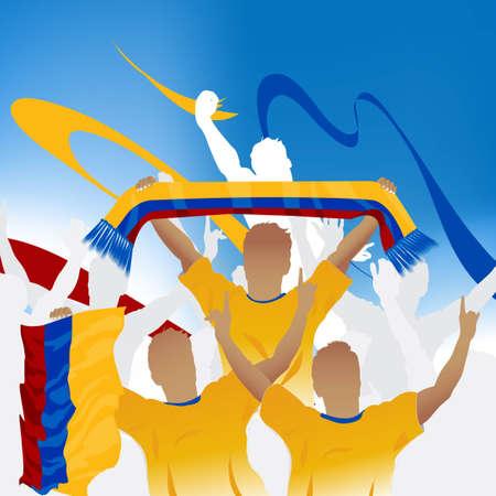 la bandera de colombia: Multitud de fans de f�tbol y tres jugadores de f�tbol con bufanda y bandera.