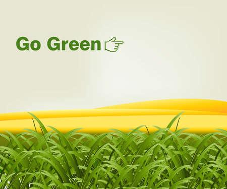 단어와 함께 골드 언덕 앞의 녹색 잔디 녹색 이동합니다.