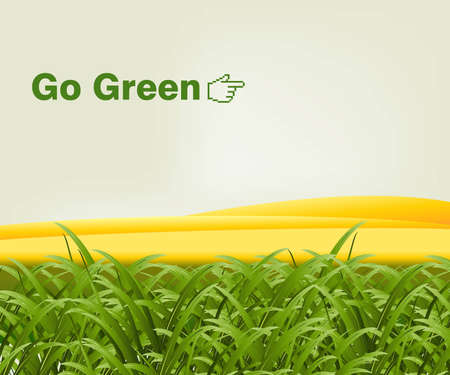 grass blades: Green grass in front of gold hills with the words go green.  Illustration