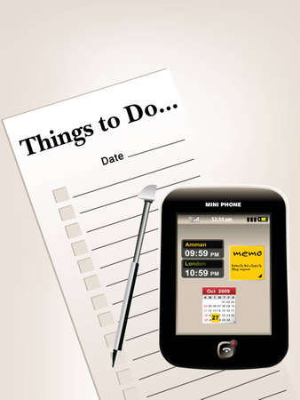 resolutions:  to do list or things to do list and samll cellphone.