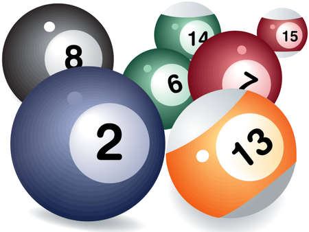 Pool game balls against a green felt table Vector