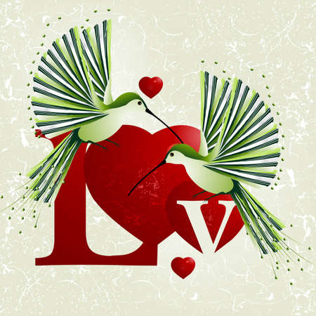 Valentines Day Concept, humming bird flying around red heart shapes. Vector