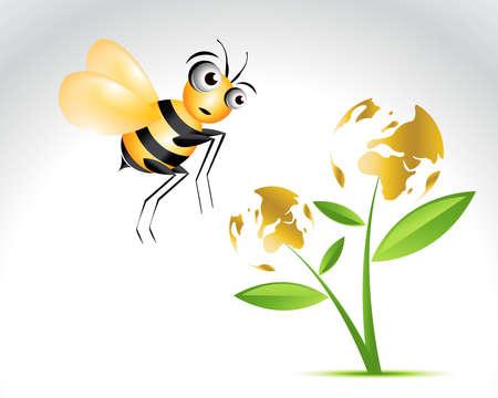 ap: Happy Bee Character, cartoon Illustration.