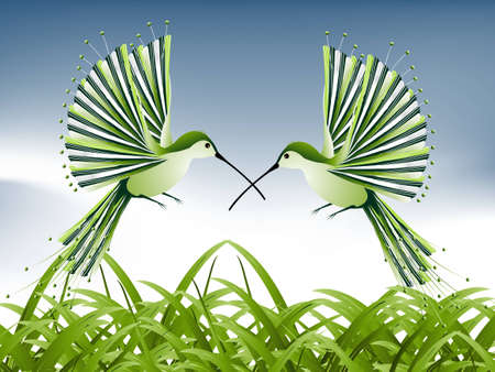 pollinator: humming bird flying around the green grass, spring concept. Illustration