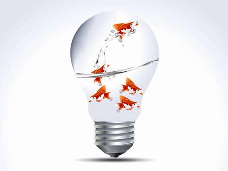 idea generation:  illustration of  fish in the bulb