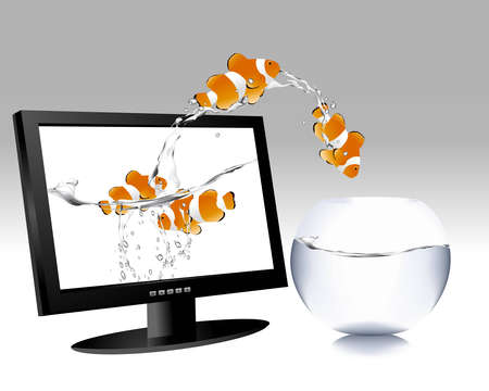 frontal view of widescreen lcd monitor, and clown fish jumping out of the screen to water bowl. Stock Vector - 8300266