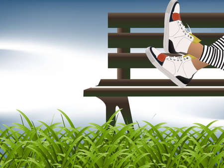 verdure: Girl sitting on the bench and natural green grass. Illustration