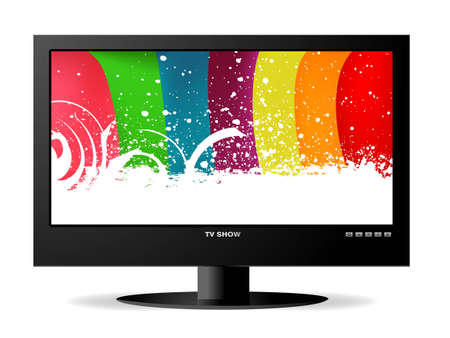 frontal view: frontal view of widescreen lcd monitor, and rainbow background.