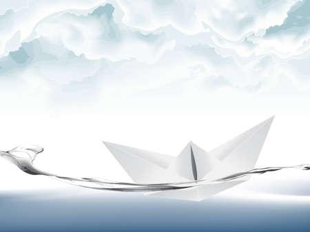 illustration of White Paper boat .