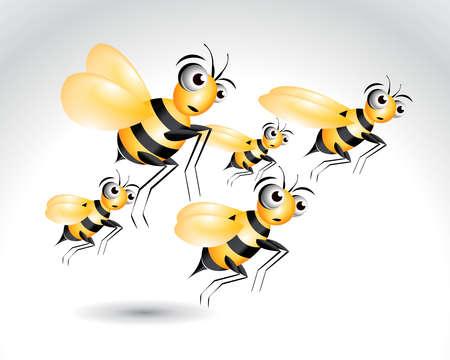 animal idiot: Happy Bee Character, cartoon Illustration.