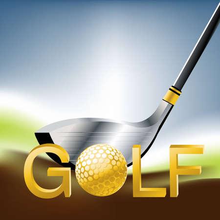 golden ball: Golf Sport concept illustration .
