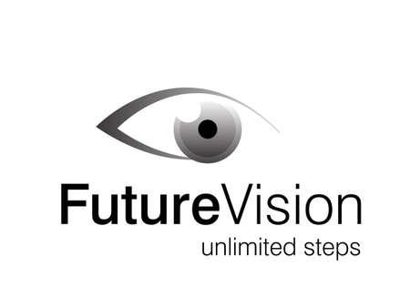 cornea:  illustrazione del logo di occhio, visione del futuro