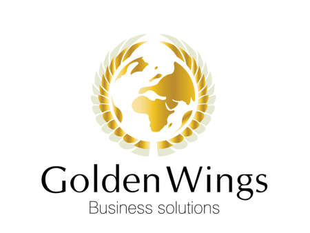 global thinking: Golden Business logo for smart business corporations Illustration