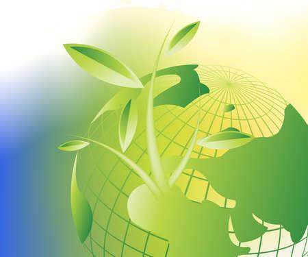 reforestaci�n: Fondo de crecimiento, tema del crecimiento de plantas. Vectores