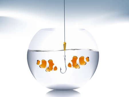A goldfish jumping out of the water to escape to freedom. Stock Vector - 8301075