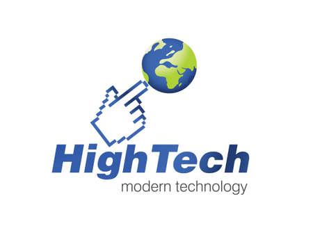 manos logo: Ilustraci�n de dise�o de logotipo para la empresa de tecnolog�a de la informaci�n.