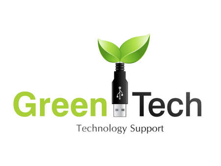 green logo: illustration of logo design for information technology company.