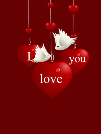 lovebirds: Valentines Day Concept, lovebirds flying around love hearts