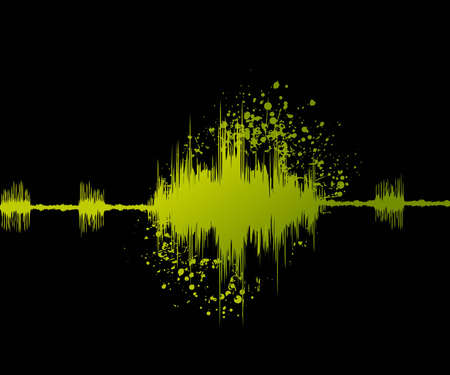 trembling: digital sound wave and grungy background. Illustration