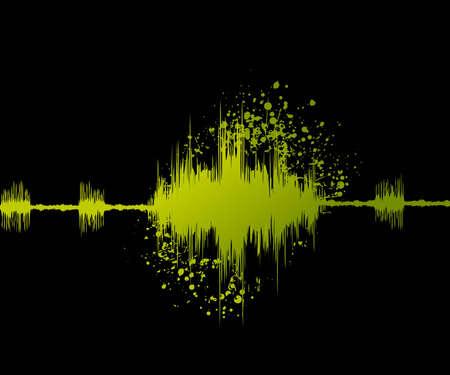 digital sound wave and grungy background. Illustration