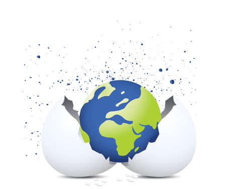 new beginning: globe and egg shell