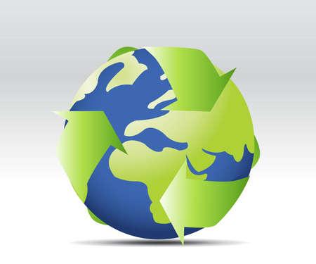 air awareness: Environmental conceptual image of three arrows forming circle around Earth representing three natural elements  Illustration