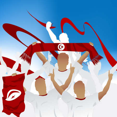 tunisia: Crowd of soccer fan and three soccer players with scarf and flag.