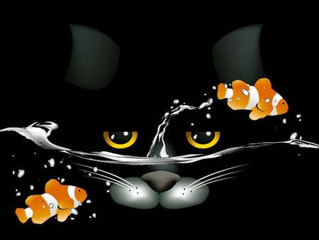 aqu�rio: black cat looking at two clown fish.