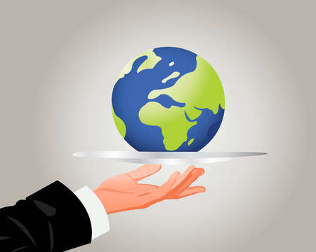 the world on silver plate, good services Vector
