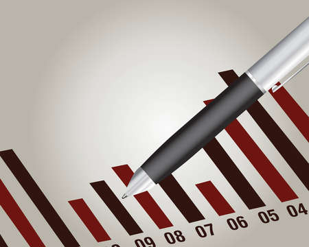 business pen:  Financial chart with a pen, Financial report.