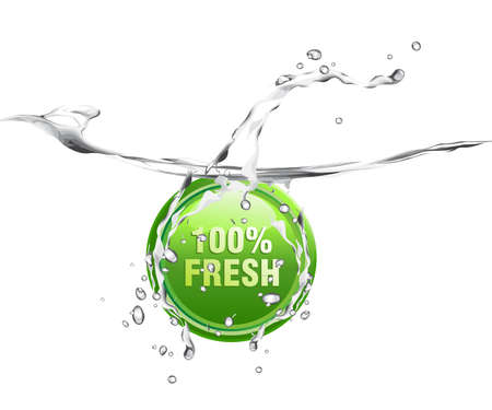 Fresh and pure water with splashing, waves and bubbles