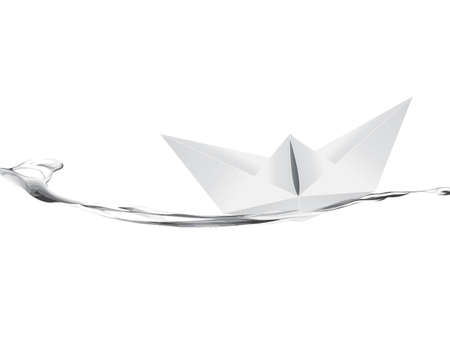 illustration of White Paper boat .