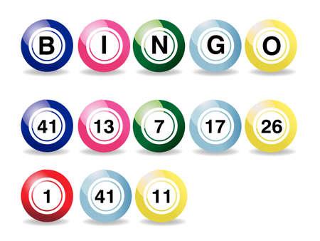 bingo:  conjunto de bolas de bingo de color sobre un fondo blanco   Vectores