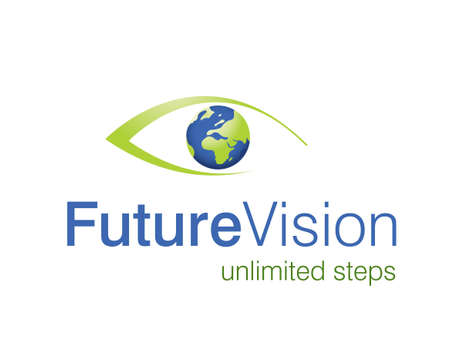 eyes open:  illustration of eye logo, future vision