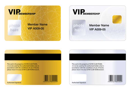 access card: Golden VIP membership card, for a special offers. Illustration