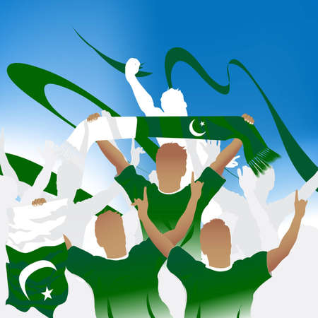 pakistan flag: Crowd of soccer fan and three soccer players with scarf and flag.