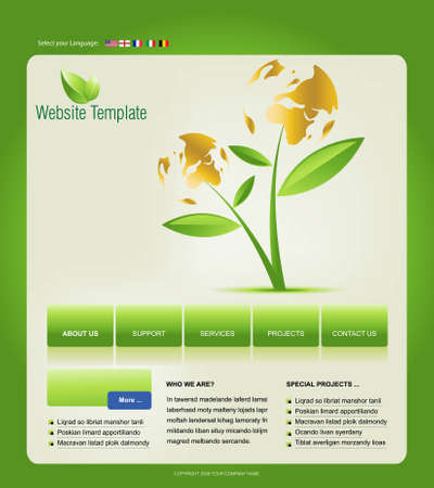 Website Template, easy to use in adobe Photoshop, Flash or Illustrator to export it to HTML format, just edit or replace text and add your sub pages. Vector