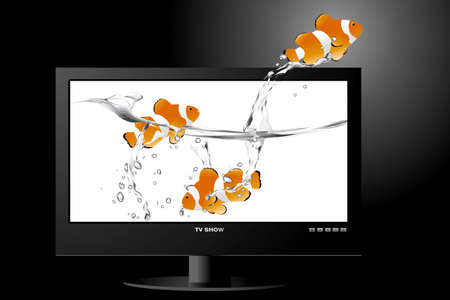 frontal view of widescreen lcd monitor, and clown fish jumping out of the screen. Vector