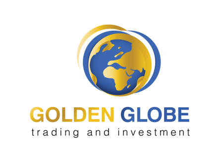 golden globe:  illustration of logo for trading, investment or tourism company. Illustration