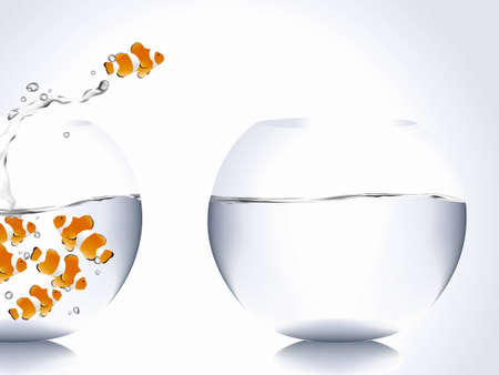 goldfish jump: clown fish jumping from full of fish bowl to empty bowl. Illustration