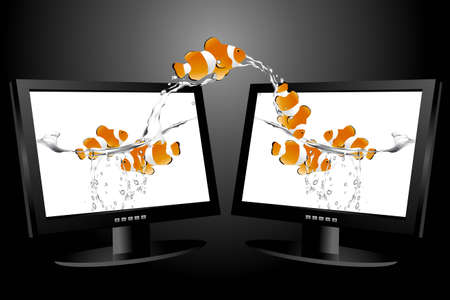 liquid crystal display: frontal view of widescreen lcd monitor, and clown fish jumping from monitor to another one.