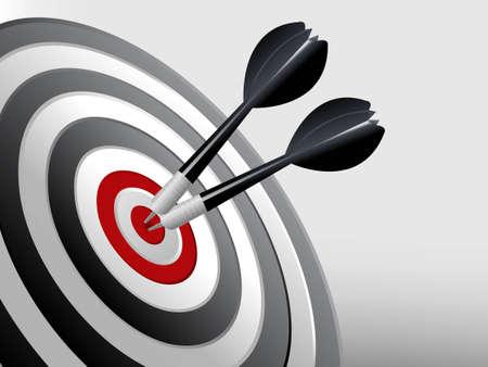 doelstelling: Succes Target, Dart op het doel, succesvol en focus concept.