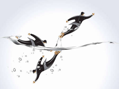 jumping into water: business concept, businessmen jumping into the water, business risk and no help.