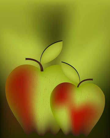 Art illustration for apple , red green apples