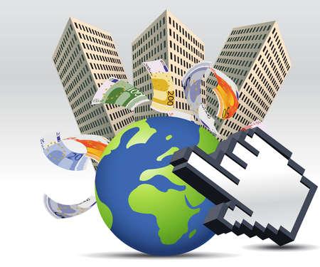 actividad econ�mica: Empresarial y financiero fondo de concepto.  Vectores